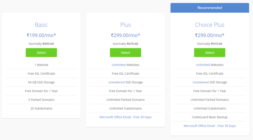 price and plans of bluehost wordpress hosting, grabitonce.in